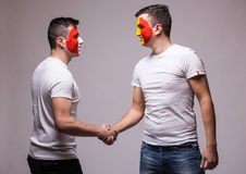 France vs Romania. Football fans of national teams handshak Royalty Free Stock Images