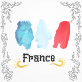 France watercolor flag. Hand drawn vector illustration Royalty Free Stock Photos