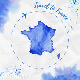France watercolor map in blue colors. Stock Photos