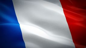 France waving flag. National 3d French flag waving. Sign of France seamless loop animation. French flag HD resolution Background. stock illustration