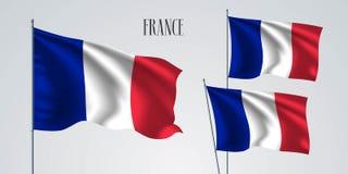 France waving flag set of vector illustration Stock Images