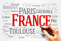 FRANCE. Word cloud, travel concept, list of cities in Royalty Free Stock Images