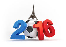 France 2016. 2016 year illustrated with a classic soccer ball, French flag colored, isolated on white Royalty Free Stock Images