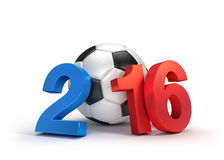 France 2016. 2016 year illustrated with a classic soccer ball, French flag colored,  on white Stock Images