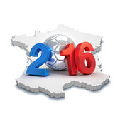 France 2016. 2016 year illustrated with a silver soccer ball, on a french map isolated on white Royalty Free Stock Photos