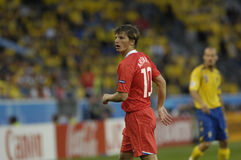 FranceFootball 2009 Best 30Players Andrei Arshavin. Andrei Arshavin (RUSSIA) during the Euro 2008 - Russia - Sweden 2:0 royalty free stock photos