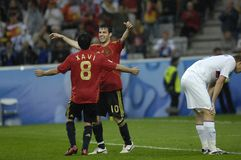 FranceFootball 2009 Best 30Players Cesc Fabregas. Cesc Fabregas and Xavi Hernandez (Spain) during the Euro 2008 Spain-Russia 4:1 stock images