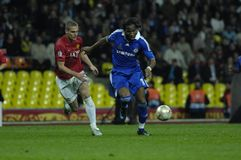 FranceFootball 2009 Best 30Players Didier Drogba. Didier Drogba(Chelsea, Cote D'Ivoire) one of the best goalscorers of the 2009 season, and Nemanja Vidic( stock images
