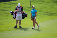 Frances Bondad evaluates her shot, LPGA Malaysia Royalty Free Stock Photos