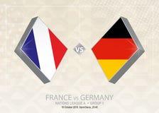 Frances contre l'Allemagne, ligue A, groupe 1 Competitio du football de l'Europe illustration de vecteur