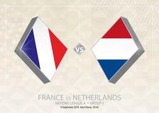 Frances contre les Pays-Bas, ligue A, groupe 1 Compet du football de l'Europe illustration stock