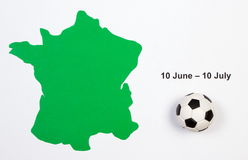 Frances de découpe de ballon de football et de vert Images stock