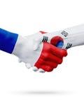 Frances de drapeaux, pays de la Corée du Sud, concept de poignée de main d'amitié d'association Photographie stock libre de droits