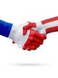 Frances de drapeaux, pays du Danemark, concept de poignée de main d'amitié d'association Photos libres de droits