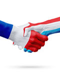Frances de drapeaux, pays du luxembourgeois, concept de poignée de main d'amitié d'association Image stock