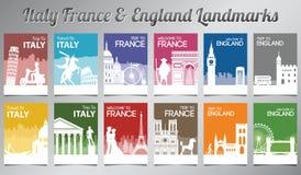 Frances de l'Italie et point de repère célèbre et symbole de l'Angleterre dans le style de silhouette avec l'ensemble multi de br illustration stock