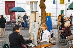 FRANCES de PARIS, vers en avril 2016 Placez du tertre dans Montmartre Photographie stock