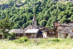 Frances en pierre de village de Bonneval-sur-arc Photographie stock