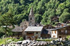 Frances en pierre de village de Bonneval-sur-arc Photos libres de droits