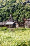Frances en pierre de village de Bonneval-sur-arc Images libres de droits
