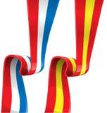 Frances et drapeau de ruban de l'Espagne Image libre de droits