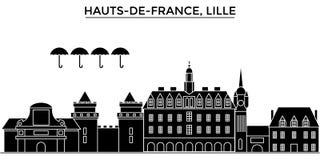 Frances, Hauts De France, horizon de ville de vecteur d'architecture de Lille, paysage urbain de voyage avec des points de repère Photos libres de droits