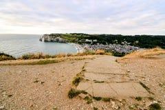 Frances l'Europe de la Normandie de ville d'Etretat d'Amont de Falaise Photo libre de droits