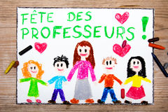 Frances Teacher& x27 ; carte de jour de s Images stock