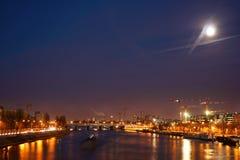Frances urbaines occupées de scène de nuit Image stock