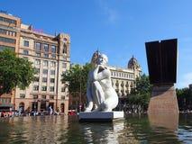 Francesc Macia纪念品, Placa de Catalunya,巴塞罗那 库存照片