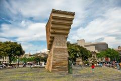 Francesc Macia Monument in Placa de Catalunya Fotografia Stock Libera da Diritti