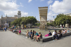 Francesc Macia zabytek w Barcelona zdjęcia royalty free