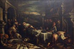 Francesco Bassano: Chrystus w domu Mary i Martha fotografia stock