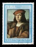 Francesco Maria I della Rovere by Rafael. CUBA - CIRCA 1983: A stamp printed in Cuba shows `Francesco Maria I della Rovere`, 1504-1505 painting by artist Rafael stock photo