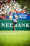 Francesco Molinari. Placing his ball for his tee off the first tee box Stock Images