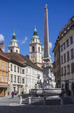 Francesco Robba fountain. At Town Square in Ljubljana Stock Image