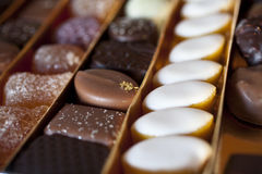 Francese Chololates, gelatine di frutta, Calissons Immagini Stock