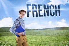 Francese contro cielo blu sopra il campo verde Fotografia Stock