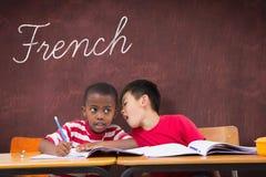 Francese contro lo scrittorio Fotografia Stock