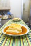 Francesinha with hot sauce. And egg Stock Photos