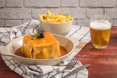 Francesinha on plate Royalty Free Stock Images