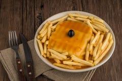 Francesinha on plate Stock Photos