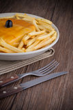 Francesinha on plate. Typical food from Porto, Portugal Royalty Free Stock Images