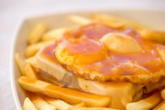 Francesinha - traditional cuisine from Porto, Portugal Stock Image