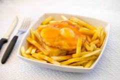 Francesinha - traditional cuisine from Porto, Portugal Royalty Free Stock Image