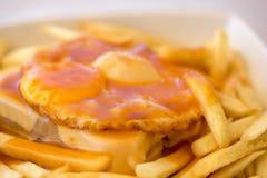 Francesinha - traditional cuisine from Porto, Portugal Stock Photos