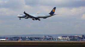 FRANCFORT, ALLEMAGNE - 28 février 2015 : Lufthansa Airbus A340-600 de l'atterrissage de ligne aérienne de Lufthansa à l'Internati Image stock
