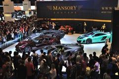 FRANCFORT - DE SEPT. EL 14: Ferrari Mansory 458 Italia y Lamborghini Imágenes de archivo libres de regalías