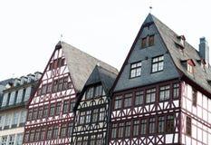 Francfort, Römer, casa half-timbered fotos de archivo