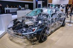 FRANCFORT - SEPT. DE 2015: Prototipo del concepto del modelo S de Tesla presentado Imagen de archivo libre de regalías